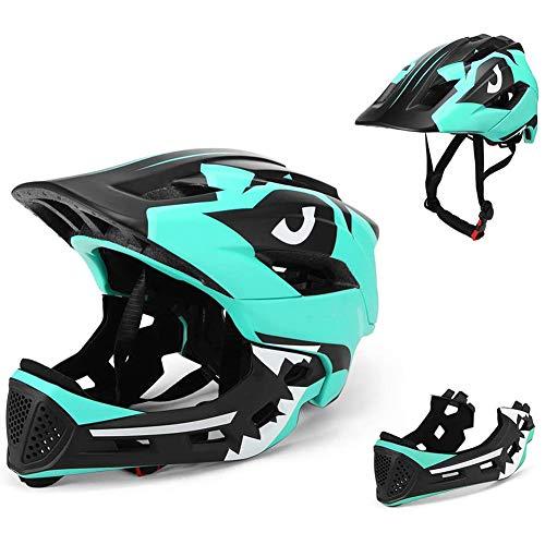 DYOYO Casco Integral Desmontable Niños Helmet Bicicleta MTB BMX Montaña Ajustable Ciclismo Ajustable Patinaje Mentón Desmontable Cascos de Seguridad 52-56cm para 3-15 Child(52-56cm)