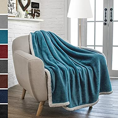PAVILIA Premium Sherpa Throw Blanket for Couch Sofa | Soft, Cozy, Plush Microfiber Throw | Reversible Flannel Fleece Solid Blanket, All Season Use (Sea Blue, 50 x 60 Inches)