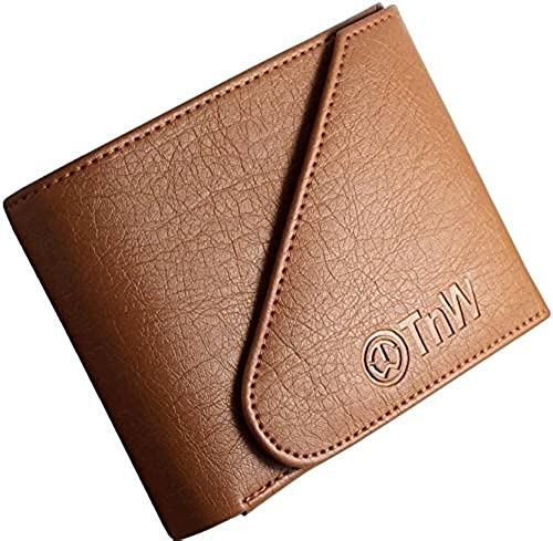Men s Artificial Leather Designer Wallet with Flap Closure Tan