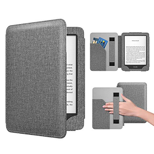 Dadanism Case Fit All-New Kindle 10th Generation 2019 Release / 8th Generation 2016, PU Leather Ultra Lightweight Slim Protective Smart Cover with Hand Strap & Pocket (Auto Sleep/Wake) – Denim Gray
