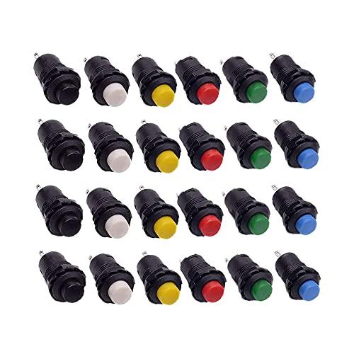 Swetup Momentane Druckschalter, 24 Stück Mini Momentary Push Button, 7mm Mini Schalter Mini Druckknopfschalter Set mit Knopf Kappen für Modell Hobby Modelleisenbahn, Tischlampe, 6 Farbe, 1A, 250V