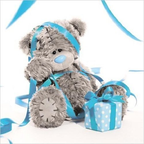 Me To You Tatty Teddy 3D Holographic Card - Birthday Bear tangled in streamers by Carte Blanche Greetings Ltd