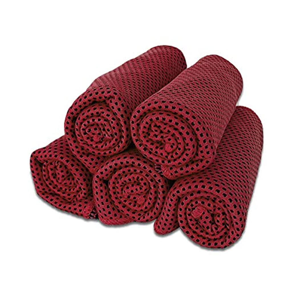 知恵パシフィック違うクールタオル ネッククーラー 冷感 冷却タオル 冷えるタオル 5枚セット (レッド)