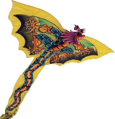 Guru-Shop Vliegers, Vliegende Vliegers, Zaalversiering, Bali Vliegers, Basiskleur: Geel, 50x100 cm, Decoratie Voor de Kinderkamer