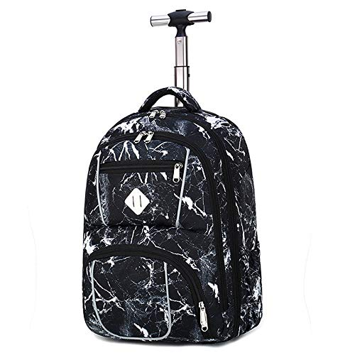 B/H Elementary Middle School Rolling Bag,Mute round aluminum trolley school bag men and women lightweight travel bag-Marbling,Rolling Backpack with Wheels