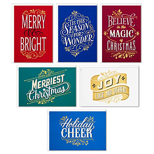 Hallmark Boxed Christmas Cards Assortment, Merriest Christmas (6 Designs, 24 Cards with Envelopes) (5XPX9475)