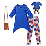 Dollie & Me Girls' Little Tunic with Purse, Legging and Matching Doll Outfit, Blue/Multi, 6