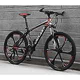 Qj Unisex 26 Pulgadas de Acero Integral de Ruedas de Carbono de Alta Velocidad Suspensión de Bicicletas de montaña de Doble Disco de Freno de la Bici,Blackred,27Speed