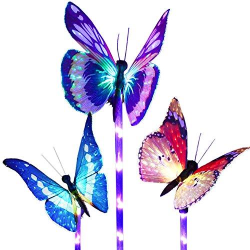 Beleuchtung Außen Solarleuchte Garten, Lvyleaf 3 Packung Solar Garten Lampen mit Farbwechsel Optik LED Schmetterling Solar Lichter, Außen Dekoration Lichter für den Garten/Rasen/Terrasse/Feld/Weg