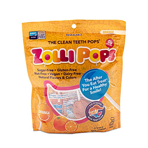 Zollipops Clean Teeth Lollipops | Anti-Cavity, Sugar Free Candy with Xylitol for a Healthy Smile - Great for Kids, Diabetics and Keto Diet (Orange, 3.1oz)