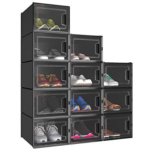 YITAHOME Shoe Box, Set of 12 Shoe Storage Organizers Stackable Shoe Storage...