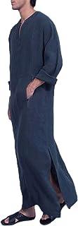XARAZA Men`s Casual Linen Robe Long Sleeve V-Neck Kaftan Abaya Thobe Long Gown