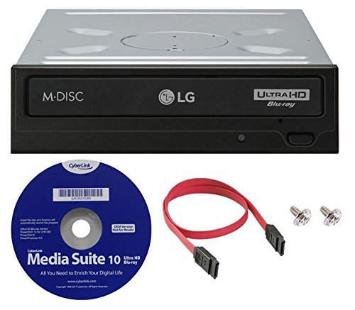 LG WH16NS60 16x internes Blu-ray BDXL M-Disc Laufwerk (mit Ultra HD 4K Wiedergabe) Bundle mit Cyberlink Software und SATA Kabel