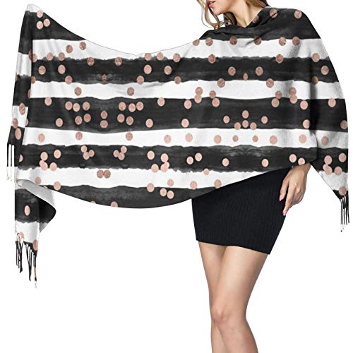 Ahdyr Kaschmir Fransen Schal Roségold Konfetti schwarz Aquarell Streifen Damen Winter extra großen Schal