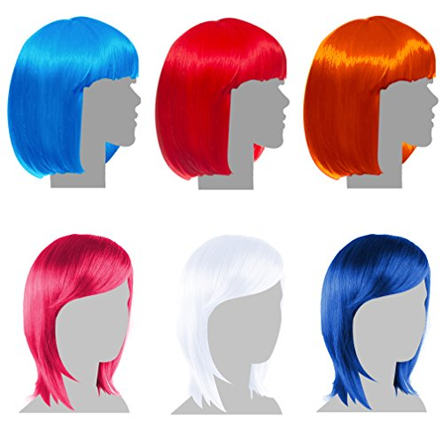 Sterling James Co. 6 Pack Party Wigs - Mardi Gras Neon Colorful Wig Pack - Bachelorette Party Favors, Supplies, and Decorations