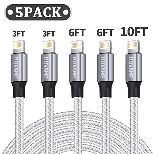 HOVAMP iPhone Charger, MFi Certified Lightning Cable 5 Pack (3/3/6/6/10FT) Nylon Woven with Metal Connector Compatible iPhone 11/Pro/Xs Max/X/8/7/Plus/6S/6/SE/5S iPad - Silver&White