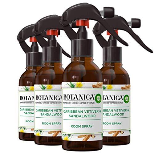 Botanica by Air Wick Air Freshener Room Spray CARIBBEAN VETIVER & SANDALWOOD, Pack of 4