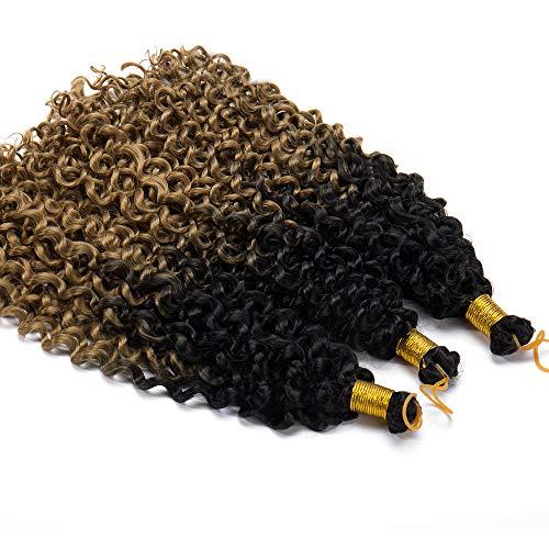 [3 Bundles/Pack] Marlybob Crochet Hair Extension Water Wave Black Kinky Curly Hair Spring Curly Braiding Crochet Hair Marley Braid Hair Synthetic Hairpiece (14'-3bundles,Black to Coffee Brown)