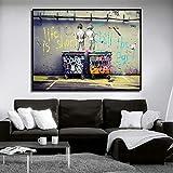 ZMFBHFBH Graffiti Art Artist Banks Dipinti su Tela Life Is Short Chill The Duck out Poster e Stampa di Immagini murali Decorazioni per la casa 70x110 cm Senza Cornice
