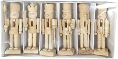 Sizet Unfinished Wood Nutcracker Ornaments Unpainted Mini Wooden Figurines, Set of 6