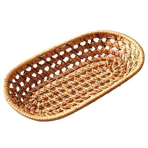 Pastoral Rattan Basket, bocadillos, Aperitivos, Cuchillos, cucharas Caja de Almacenamiento (tamaño : Length: 27)