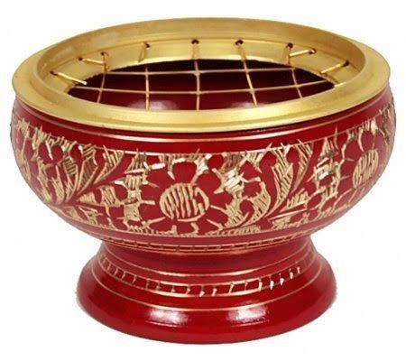 Zap Impex - Bruciatore di incenso, in ottone, con decorazioni intagliate, molto bello e versatile, dimensioni ca. 5 x 5,5 cm