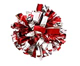 PUZINE 13' Cheerleading Metallic Foil & Plastic Ring Pom Poms Pack of 2 (100g) (red with Silver)