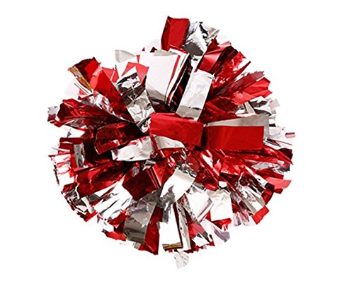 """PUZINE 13"""" Cheerleading Metallic Foil & Plastic Ring Pom Poms Pack of 2 (100g) (red with Silver)"""