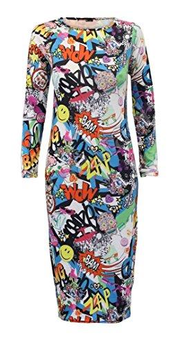 Elum - Vestido para Mujer, Manga Larga, Estampado, elástico, con Maillot Bang XL = 44-46