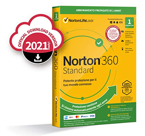 Norton 360 Standard 2021, Antivirus per 1 Dispositivo, Licenza di 1 anno con rinnovo automatico, Secure VPN e Password Manager, PC, Mac, tablet e smartphone, Codice d attivazione via email