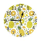 Zseeda Lindo Reloj de Pared Redondo de Lunares de Fruta de piña Silencioso sin tictac Funciona con Pilas Fácil de Leer para Arte de Reloj de Oficina de Estudiantes