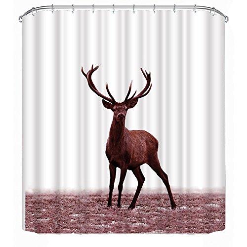 3D Hirsch Duschvorhang by Prosperveil 180 x 200cm Anti-Schimmel Duschvorhang Anti-Bakteriell Hirsch gedruckt Duschvorhang Weiß Muster Design Vorhan