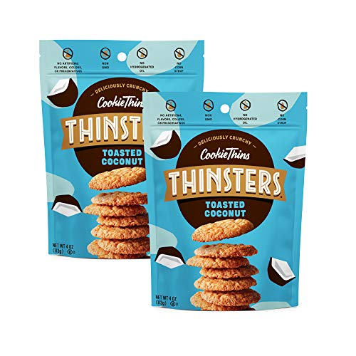 THINSTERS Cookie Thins Cookies, Toasted Coconut, 16oz (Pack Of 2), Non-GMO, Peanut Free, No Corn Syrup, Crunchy Cookies, No Artificial Flavors, Colors, or Preservatives