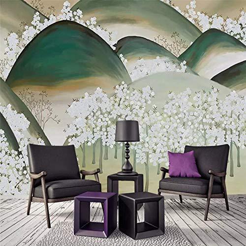 4D behang muurschilderingen, creatief cartoon groen mountainbike wit pruim grote kunst foto afdrukken poster wallpaper voor woonkamer bank TV achtergrond slaapkamer muur decor, 76 × 108 in 190 C 24in×48in 60cm(H)×120cm(W)