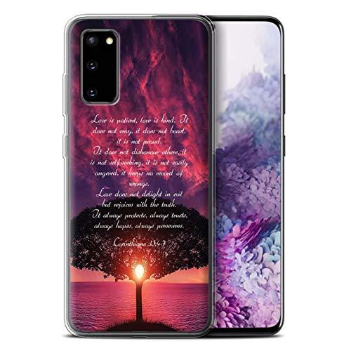 Stuff4 Gel TPU Hülle/Hülle für Samsung Galaxy S20 / Love is Patient/Corinthians Muster/Christliche Bibel Vers Kollektion