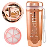 Teami Tea Tumbler Infuser Bottle - Rose Gold, 13 Ounce - BPA FREE - Double Walled Mug, Hot or Cold - Our Best Infusion Bottles for Infused Fruit, Smoothies, Tea, even Coffee
