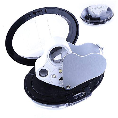 REY Doble Lupa LED 30x y 60x, Lupa Iluminada de Precisión con 30 Aumentos y 60 Aumentos