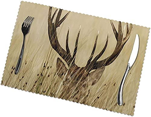 WANGJINGHUA Placemats Set of 4 Whitetail Deer Fawn in Wilderness Stag Coaster for Dining Table Non-Slip Heat Resistant Washable Table Mats 30X45CM