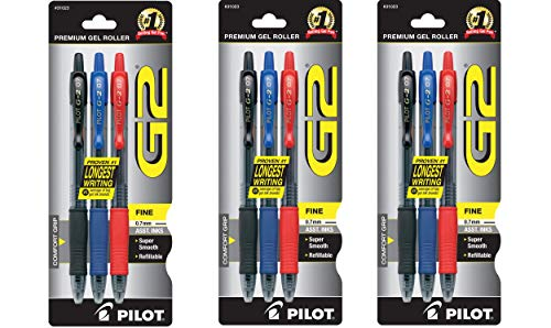 PILOT G2 Premium Refillable & Retractable Rolling Ball Gel Pens, Fine Point, Red/Blue/Black Inks - 3 Pack of (9 Pens)