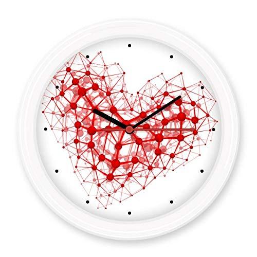 BeatCong Red Heart-Shaped Zusammenfassung Atomare Struktur Physikalische Dreidimensionale Illustration Stille Nicht tickt runde Wand dekorative Uhr Batteriebetriebene Uhren Gift Abziehbild