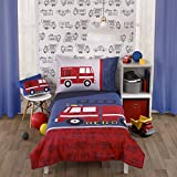 Carter's Firetruck Red, White, and Blue 4 Piece Toddler Bedding Set