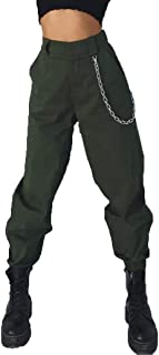 RUEWEY Women High Waist Hip Hop Dance Tapered Cargo Jogger Pants Trousers Harem Baggy Jogging Sweatpants
