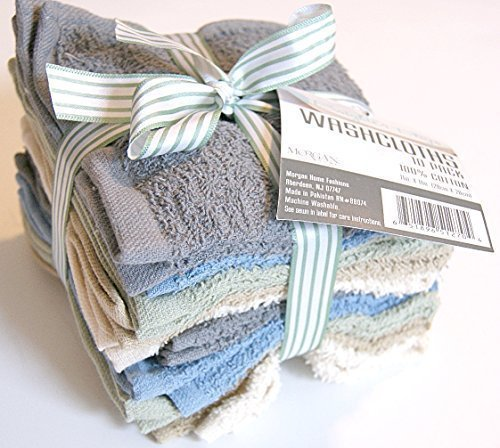 Brighter Days Multi-colored Washcloth Set - 10 Count - Grey, Blue, and More
