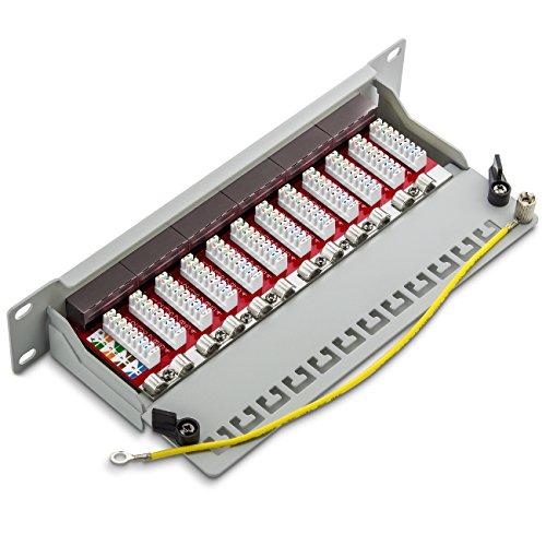 deleyCON CAT 6a Patchpanel Verteilerfeld 12 Port - Desktop 10 Zoll Rackeinbau Servermontage RJ45 Geschirmt - TIA568A TIA568B - Lichtgrau