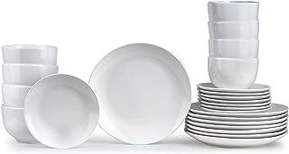 Insiya 24 Piece Superior Quality Porcelein Dinner Set, white, SV205