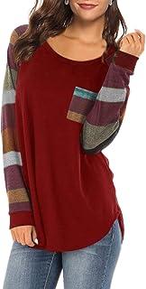 Yczx Womens T Shirt Long Sleeve Color Block Shirts Casual Tops Raglan Blouses Tunic Soft Lightweight T-Shirt Breathable Au...