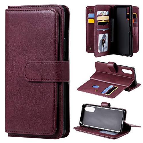 Snow Color Sony Xperia 10II Hülle, Premium Leder Tasche Flip Wallet Case [Standfunktion] [Kartenfächern] PU-Leder Schutzhülle Brieftasche Handyhülle für Sony Xperia 10 II - COKT020447 Rotwein