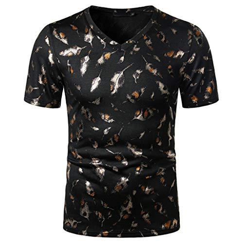 Xniral Herren Sommer Beiläufig Rundhals Kurzarm T-Shirt Tops Slim Shirt Glänzend Streetwear mit Gebogener Saum(d-Schwarz,XL)