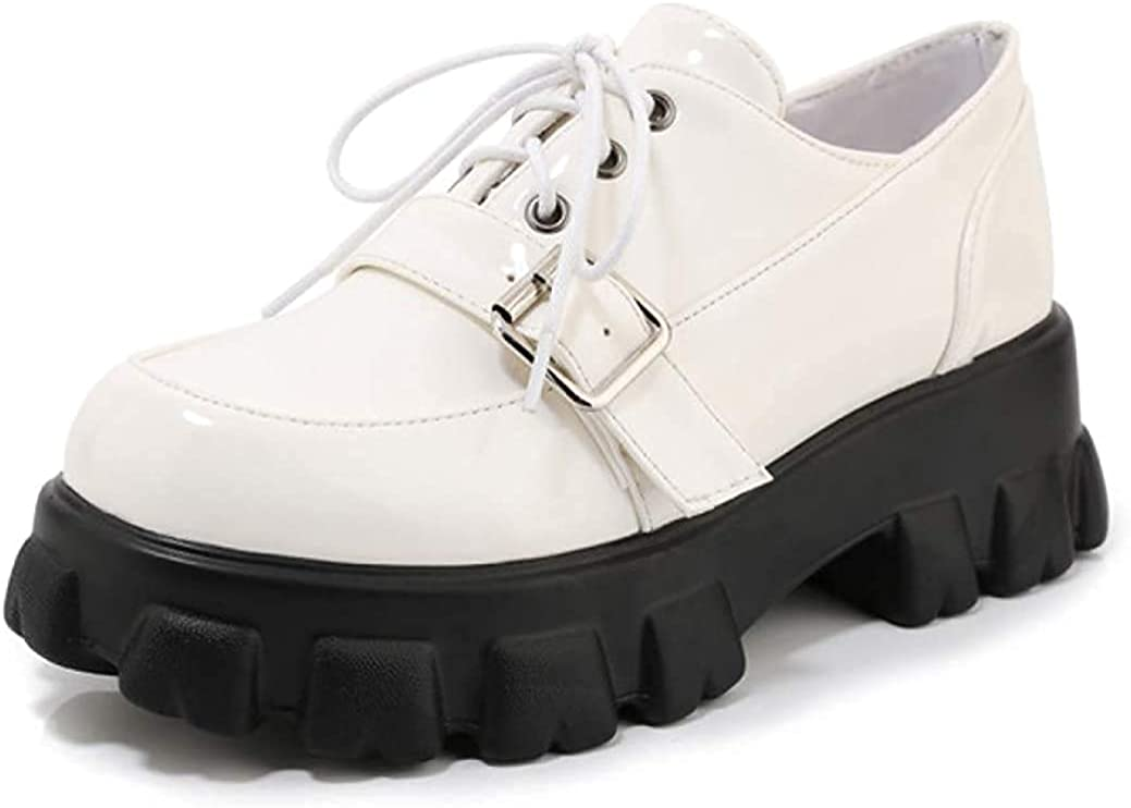 Women's New product! New type Max 51% OFF Platform Flat Oxfords Casual Lace Up B Low Western Heels