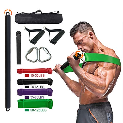 Portable Resistance Bar Kit,With Resistance Bar Pull-up Resistance Band Set, Resistance Belt Kit with Handle And Door Anchor,Used Home Gym Whole Body Strength Training (Rotating resistance bar kit)